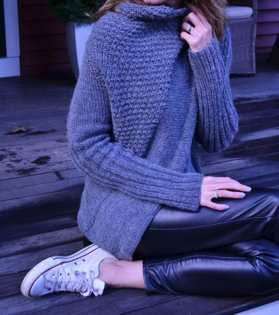 Gorgeous knitted blue cardigan in asymmetrical design - on the LoveKnitting Community!