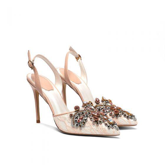 Seksowne Szampan Z Koronki Rhinestone Buty Slubne 2020 Z Paskiem 10 Cm Szpilki Szpiczaste Slub Na Obcasie Heels Wedding Shoe Shoes