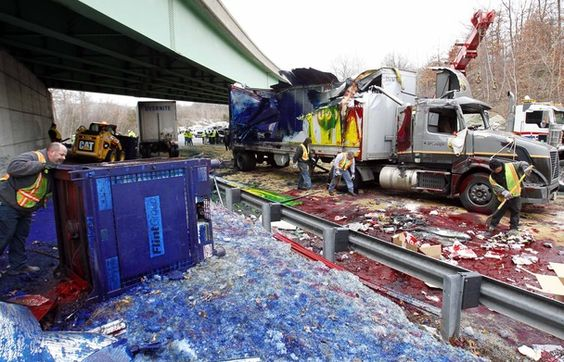 Ink truck crash.  Such an awesome picture.