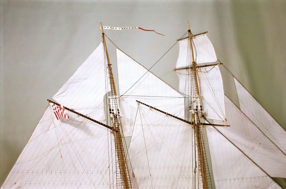 """Sail and Rigging Detail -US Revenue Cutter JOE LANE c.1855    Sails are the most beautiful element of any sailing ship. For this reason, I choose to place them on many of my original one-of-a-kind models, especially the miniatures and other smaller scale versions under 3/16""""."""