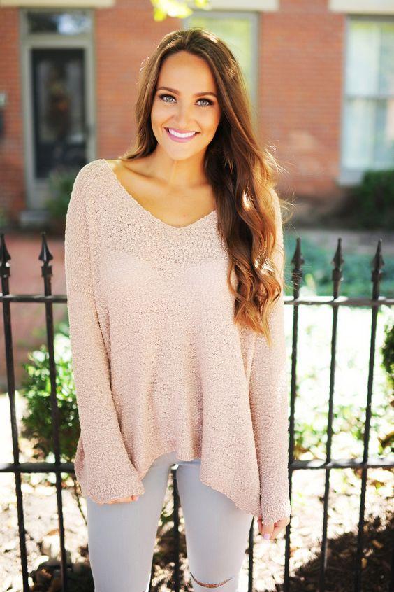 Pink V Neck Knit Sweater - Dottie Couture Boutique