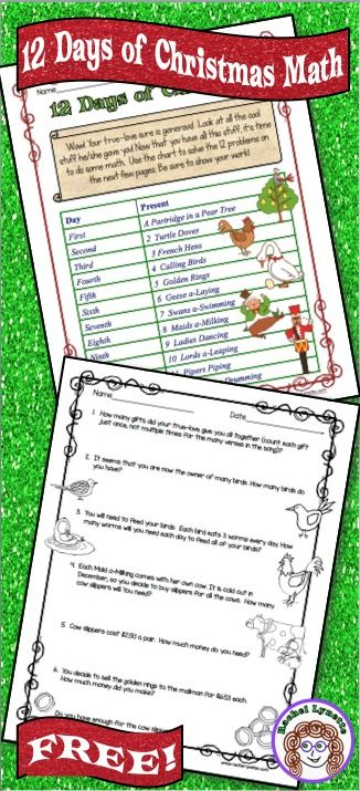 These Twelve Days of Christmas multi-step math word problems are ...