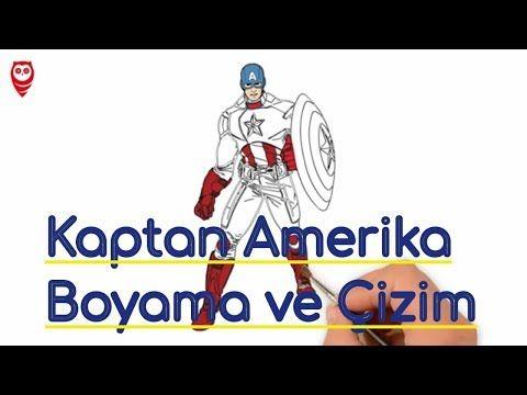 Kaptan Amerika Ve Kalkan Boyama Eğlenceli Ve çizim Sayfası