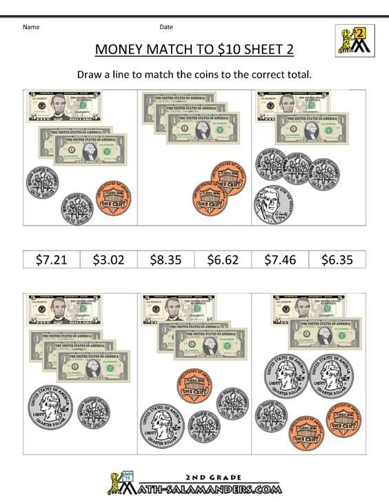 math worksheet : money math worksheets money match to 10 dollars  homeschool 2nd  : Money Math Worksheets 3rd Grade