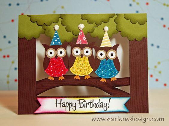Neat birthday card: Cards Owl, Birthday Card, Paper Craft, Papercraft, Cards Birthday, Owl Card, Bday Card, Punch Card