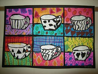 Black History Month Program...instead of coffee cup pop art, we could do a jazz instrument pop art.  The kids could color each square as we listen to different jazz music and it would show how the different sounds affect the mood of the art they make.