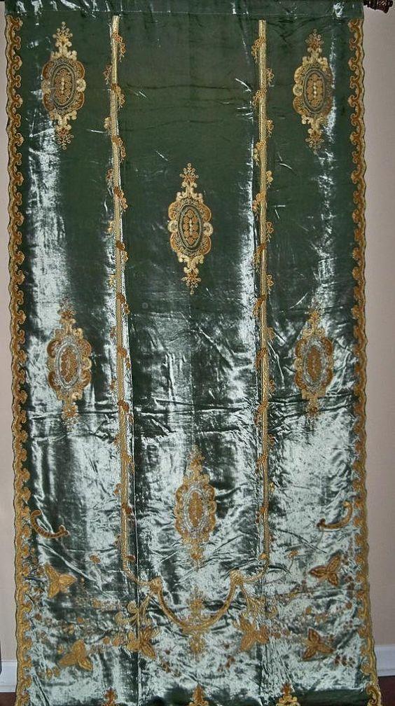 Last one carlotta embroidered silk velvet fabric drapery