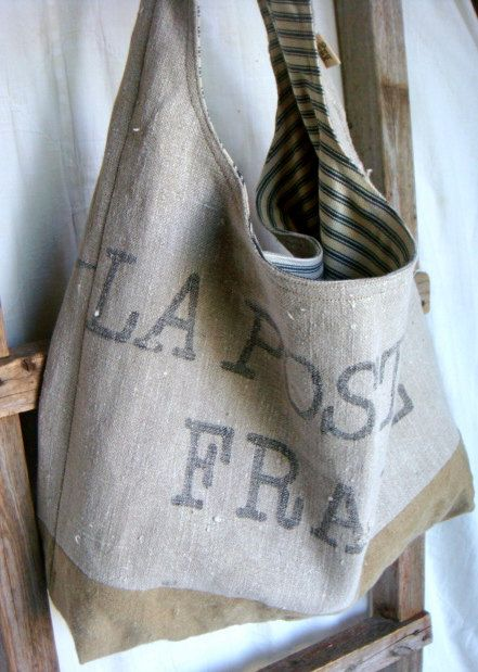 upcycled antique french mail tote ~ yahbag