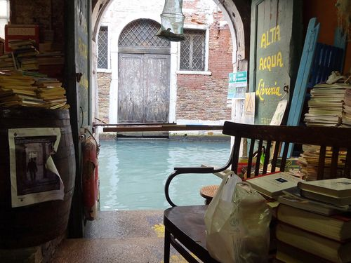"Libreria Acqua Alta in Venice, Italy. The bookshop, being one of the most original in the world, is a lovely place to rummage used publications in various languages. The so-called ""High Water Bookstore"" sits in Calle Longa Santa Maria Formosa (Corte Senza Nome) in Venice. (Photo by Ennio Maretto)"