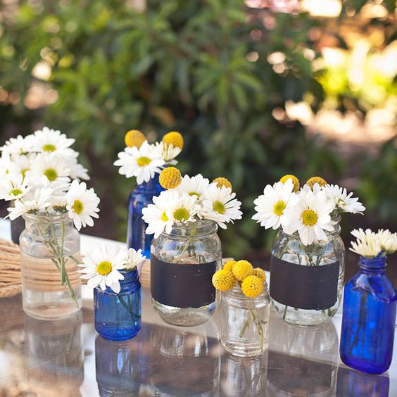 ideas for table decorations....wedding and shower...cheap easy!: