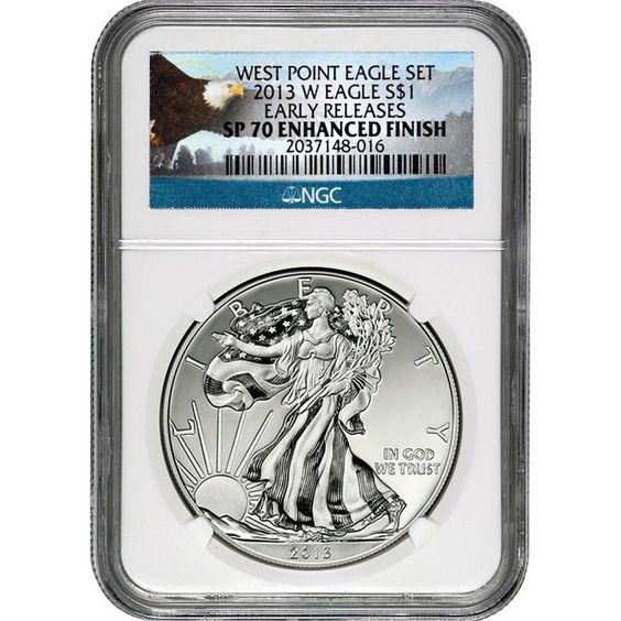 2013-W Silver American Eagle West Point 2pc Set 70 UC ER NGC Eagle Label / Enhanced Mint State