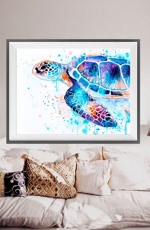 Tortue de mer peinture aquarelle imprimer, tortue de mer art aquarelle animaux, illustration animale, art de la mer, tortue photographie, art animalier
