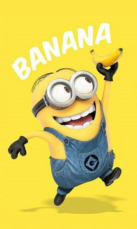 大好きなバナナを持つミニオンズ