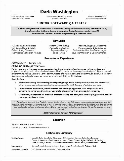 Entry Level Qa Resume Awesome Entry Level Qa Software Tester Resume Sample In 2020 Job Resume Samples Resume Acting Resume Template