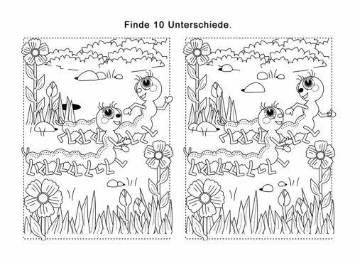 Ratselbilder Fehlersuchbild Raupen Zum Ausmalen Fehlersuchbild Fehlerbilder Fehler Suchen