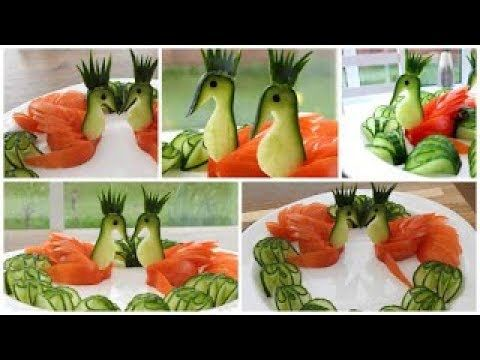 Super Salad Decoration Ideas Cucumber Tomato Swans Plate