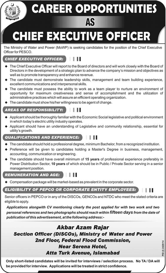 USAID Islamabad JobsA USAID Funded program working in the energy - chief executive officer job description
