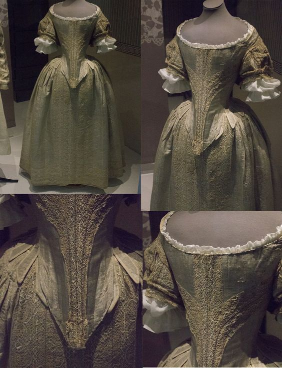 Ca. 1660 silver tissue dress with parchment lace. Fashion museum Bath: