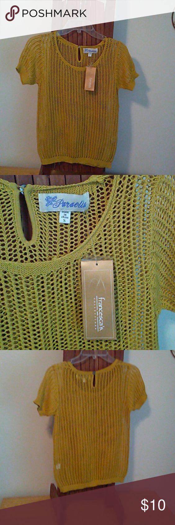 NWT OVERLAY TOP S/Very nice yellow open knit top.  100% cotton comes with extra button. Francesca's Collections Tops