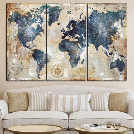 Free Shipping Buy Girl12queen 3pcs Set World Map Wall Art Paintings No Frame Home Living Room Decoration World Map Painting Map Canvas Art 3 Piece Canvas Art