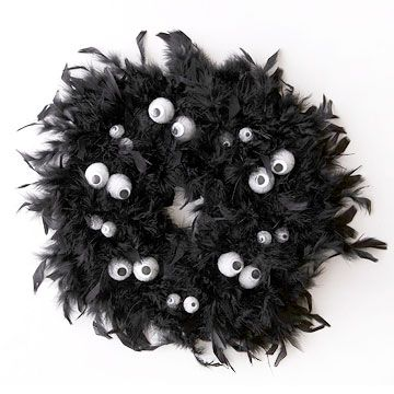 Feather boa wrapped wreath form.  Styrofoam eyes wired together and wrapped around wreath.  Directions say to paint eyes, but I would use stick on googly eyes!