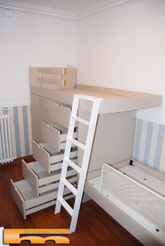 Cama block a medida alta armario cajones pedro barcelona - Medidas camas infantiles ...