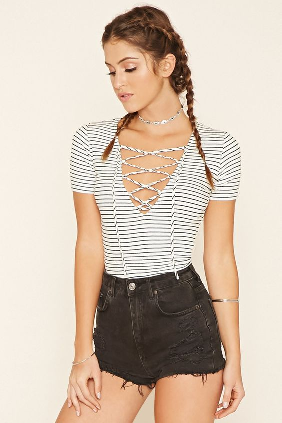 Striped Lace-Up Top | Forever 21 - 2000200028