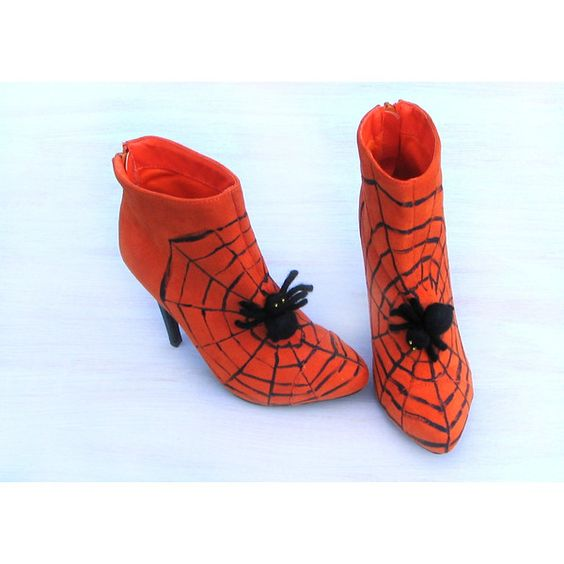 Halloween shoes, boots, witch shoes, Halloween decor, orange black,... ($82) ❤ liked on Polyvore featuring home, home decor, holiday decorations, thanksgiving home decor, halloween home decor, fabric home decor and black home decor
