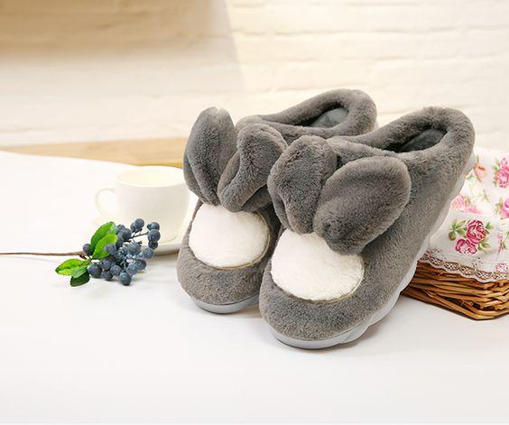Pantoufles lapins fourrées