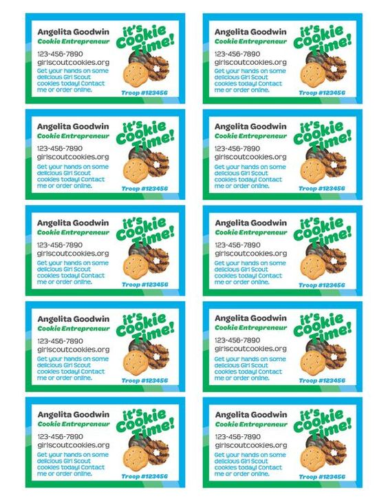 Girl Scout Cookie Seller Business Cards Pdf Template Etsy Girl Scout Cookies Booth Girl Scout Cookie Sales Girl Scout Cookies