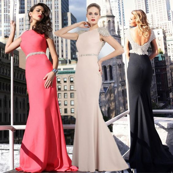 2013 Hot Style Real Photos Beaded Cap Sleeves Open Back Elegant Chiffon Long Sheath Girls Special Occasion Evening Prom Dress US $139.00
