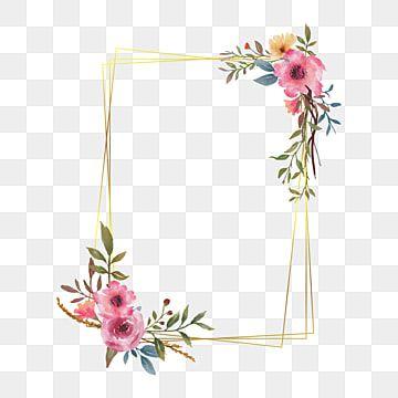 إطار الزفاف مع باقة من الزهور المائية والحدود الذهبية الحدود المرسومة خلفية نمط Png والمتجهات للتحميل مجانا Flower Frame Floral Border Flower Border Png