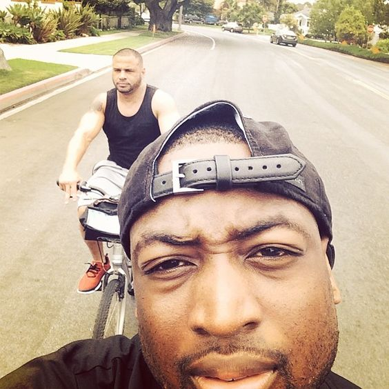 Great bike ride this morning. My guy @djgotsis23 got my back..#lafamila #wedidnthavethecoolbikeseither #DwyaneWade