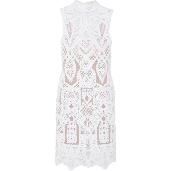 Jonathan Simkhai Embroidered cotton-blend and tulle mini dress (£1,040) ❤ liked on Polyvore featuring dresses, jonathan simkhai, white, short tulle dress, turtleneck top, white mini dress, white turtleneck and white turtleneck dress