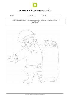 arbeitsblatt wunschliste zu weihnachten weihnachten. Black Bedroom Furniture Sets. Home Design Ideas