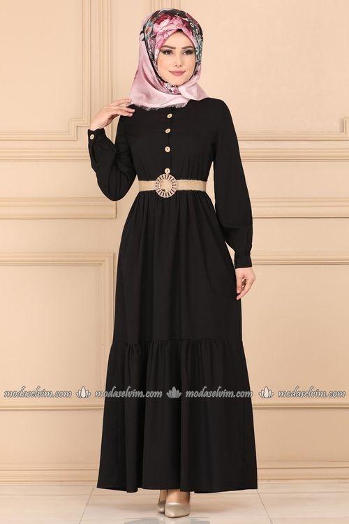 Modaselvim Elbise Hasir Kemerli Tesettur Elbise Ast3014 Siyah Elbise Moda Stilleri Giyim