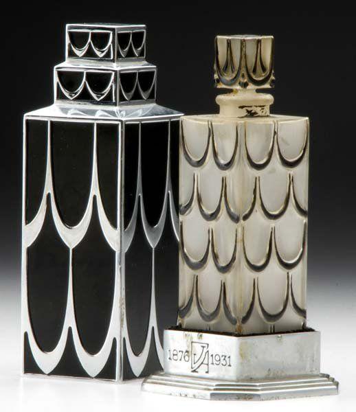 René Lalique's Skyscraper perfume box created for Lucien Lelong's Parfums A, B, C, J OU N, 1929.