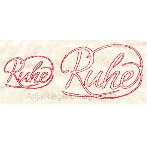 "Embroidery Design ""Ruhe"""