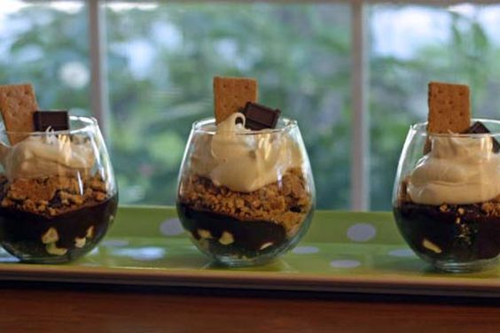 "SMores Trifle. This is similar to my Chocolate ""No Trouble"" Dessert but with the graham crackers, marshmallows and Hershey's...got to give it a try!!!"