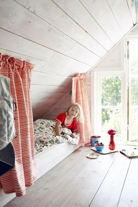 I love this idea for a kids bed especially since our upstairs is a loft and the walls look just like this. So much room!