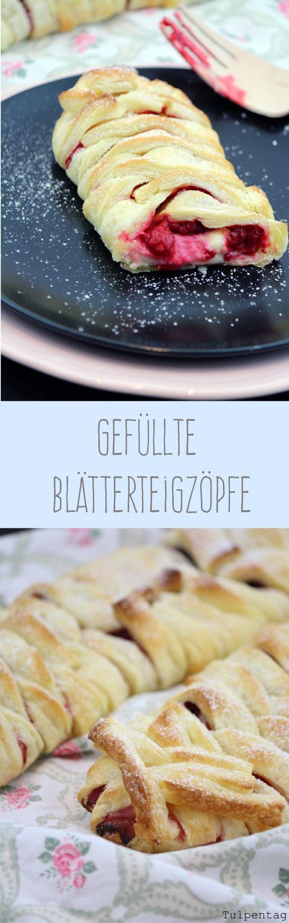 Tulpentag: Gefüllte Blätterteigzöpfe mit Vanillepudding und Himbeeren #rezept #schnell #Blätterteig