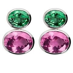 Colleen B. Rosenblat Tourmaline Rhodolite Gold Earrings