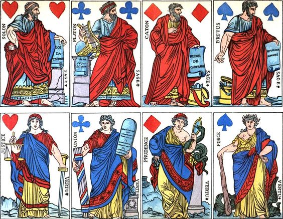 A deck of cards dating from the French Revolution. Kings have been replaced with Wise Men (Solo, Plato, Cato, & Brutus), and Queens with Virtues.