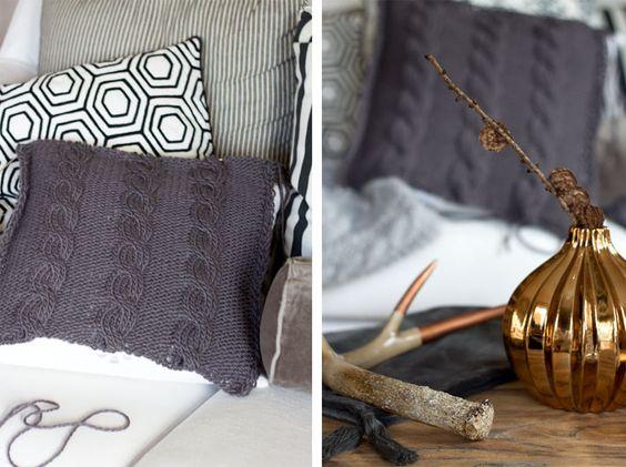 amalie loves denmark strickkissen mit zopfmuster crafts knitting home pinterest selber. Black Bedroom Furniture Sets. Home Design Ideas