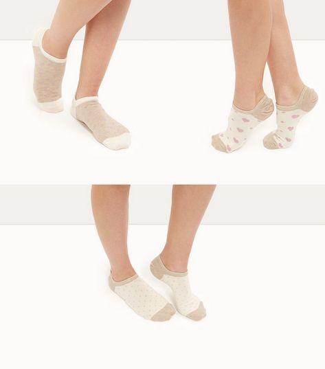 3 Pack Cream Heart Spot Print Trainers Socks   New Look