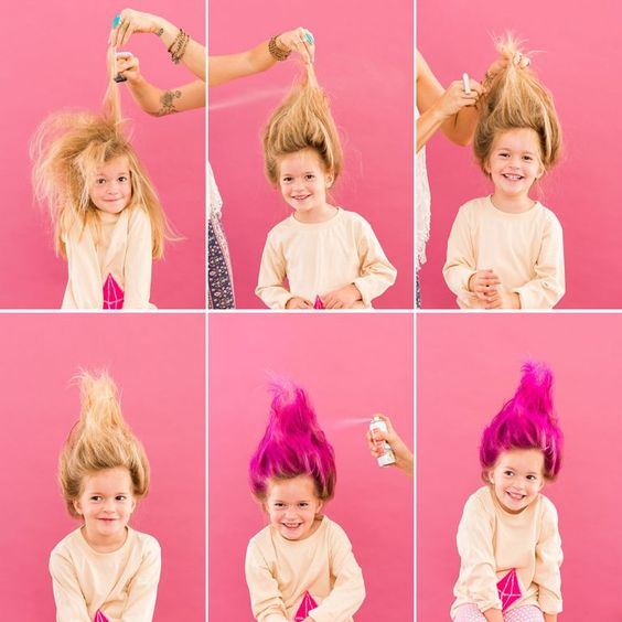11 DIY Halloween Hairstyles for You and Your Kiddos ... Troll Doll!: