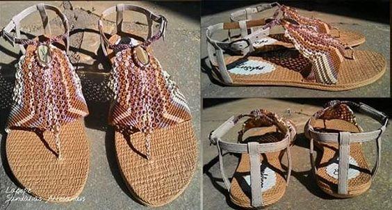 Sandália em macrame com pedra citrino. Laçopé sandálias artesanais valorizando os pés através das mãos...