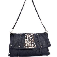 Black Studded Faux Leather clutch $39  #faux leather #clutch #clutches #fashion