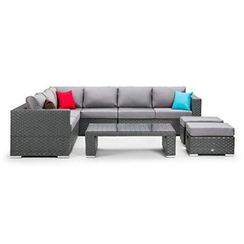Club Rattan Corner Garden Sofa Set With Coffee Table In Grey 649 98 With Images Garden Sofa Set Sofa Set Garden Sofa