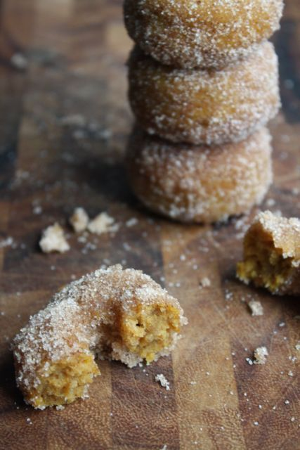 pumpkin spice donuts - baked, not fried. during the fall with some coffee